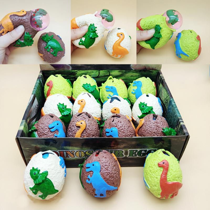 1 Pcs Random Cute Cartoon Animal Soft Squeeze Toys Dinosaur Eggs Sneaker Eggs Shell Fruit Stress Relief Toys For Children Toys