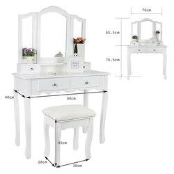 Европа и Америка комоды для спальни, мебель для макияжа с 3 зеркалами, 4 ящика, табурет, комплекты для спальни, туалетный столик HWC