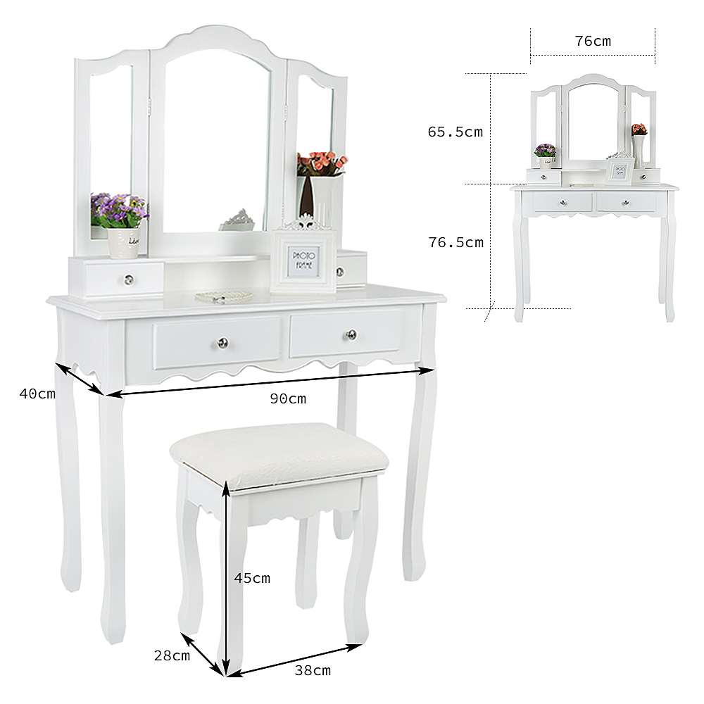 Europe And America Dressers For Bedroom Makeup Furniture With 3 Mirrors 4 Drawers Stool Bedroom Sets Dressing Vanity Table HWC