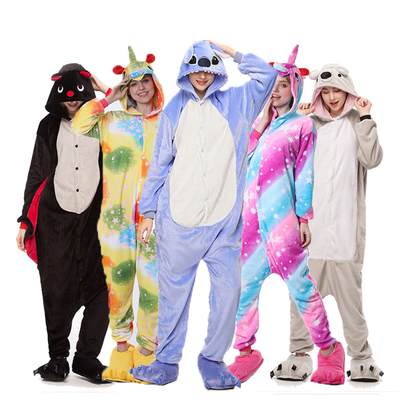 Soft Fabric Flannel Warm Unicornio Nightwear Hooded Onsie Pyjamas Couple Pajamas Women Onesie Sleepwear Kigurumi Stitch Clothes