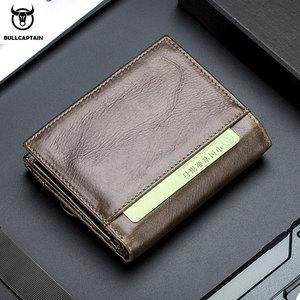 Image 5 - Кошелек BULLCAPTAIN мужской кожаный, бумажник без RFID сканирования, модный клатч с монетницей и кредитницей