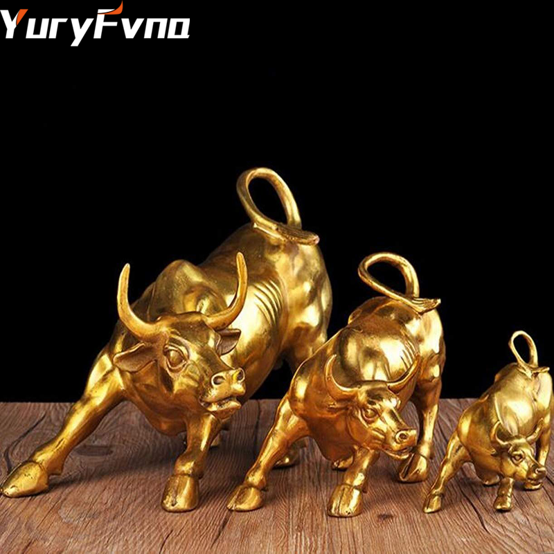 YuryFvna 3 Sizes Golden Wall Street Bull OX Figurine Sculpture Charging Stock Market Bull Statue Home Office Decoration Gift