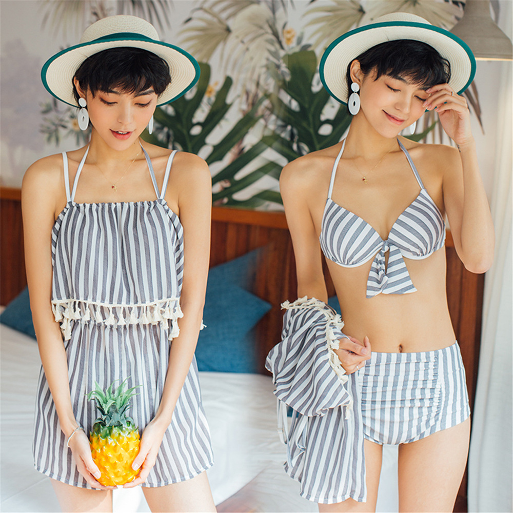 Women's Bikini Three-piece Set Tassels Outer Shirt Beach Holiday Underwire Small Bust Gathering Conservative Swimsuit