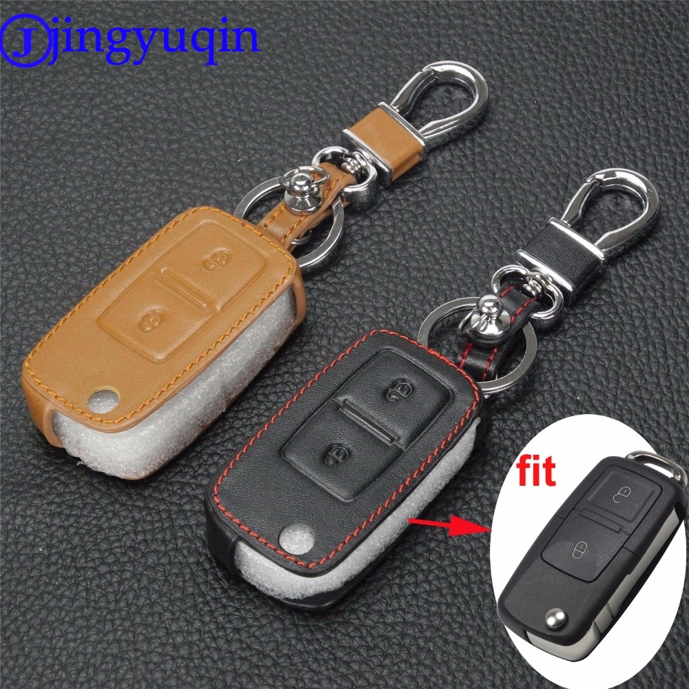 jingyuqin 2 Btns Remote Leather Car-Styling Key Cover Case For VW VOLKSWAGEN MK4 Seat Altea Alhambra Ibiza Transporter Polo GOLF