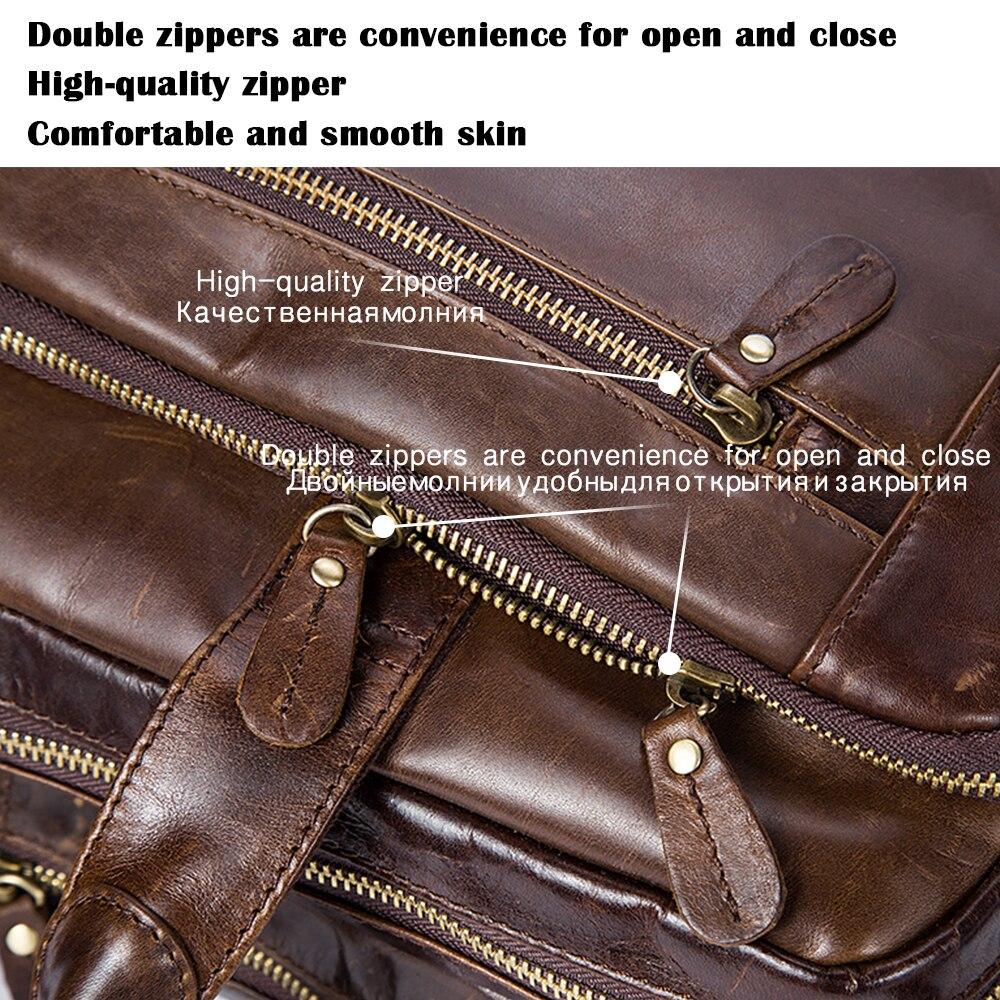WESTAL Men Leather Briefcase Laptop Bag Male Genuine Leather Bag Men Briefcase Handbags Multifunction Men's Travel Shoulder Bag
