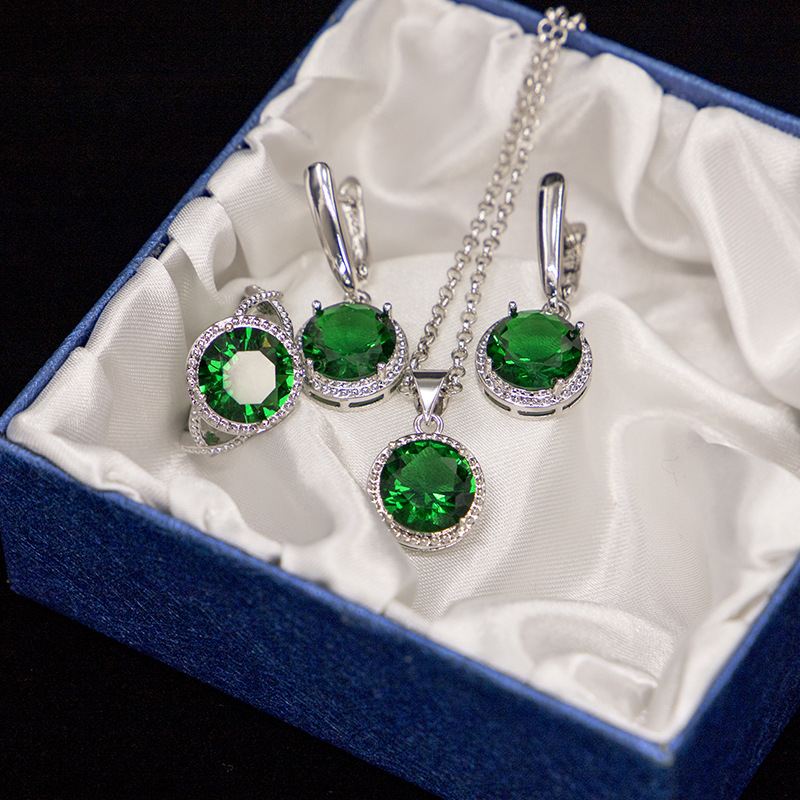 GZJY Women Blue Green Crystal Jewelry Sets 925 Sterling Silver Earrings Necklace Pendant Ring for Wedding Bridal Jewelry Gift(China)