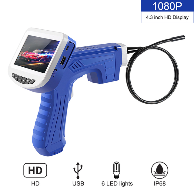 1080P Industrial Endoscope Inspection Camera Portable Hard Cable Handheld Wifi Borescope Videoscope with 4.3 inch LCD Endoscope