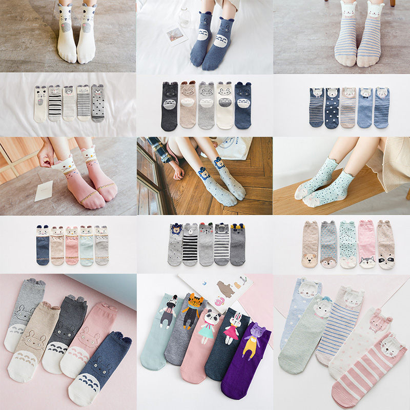 5Pairs 3D Cartoon Ears Female Warm Socks Colorful Totoro Animal Forest Pattern Woman Socks Feather Yarn New Year Gift Women Sock