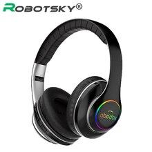 Dobrável sem fio fone de ouvido led luz 3d estéreo hi fi gaming bluetooth fone de ouvido esportes música fones 20h jogar tempo