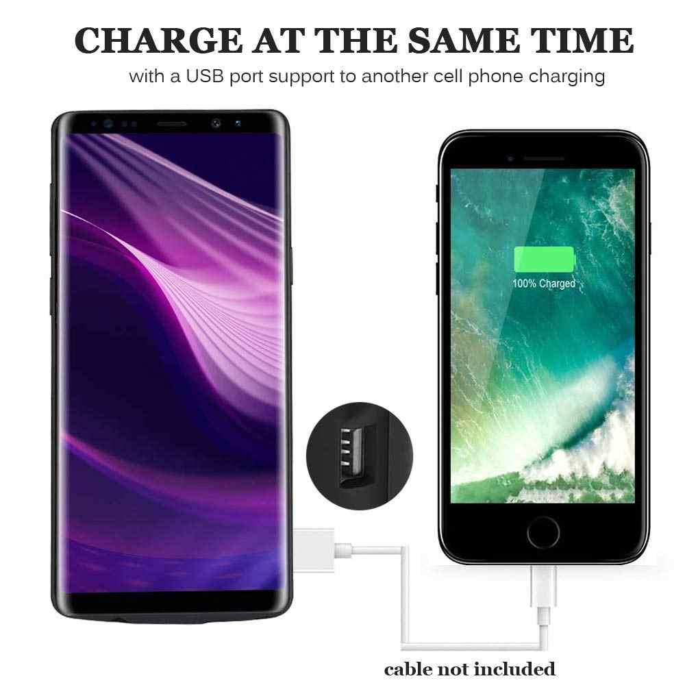 Funda de batería de silicona a prueba de golpes para Samsung Note 8 funda de carga de batería cubierta trasera de Banco de energía para Samsung Note 9
