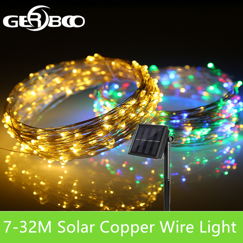 22/32M Solar LED Light String Outdoor Waterproof Copper Wire String Holiday Fairy Lights For Christmas Party Wedding Decoration