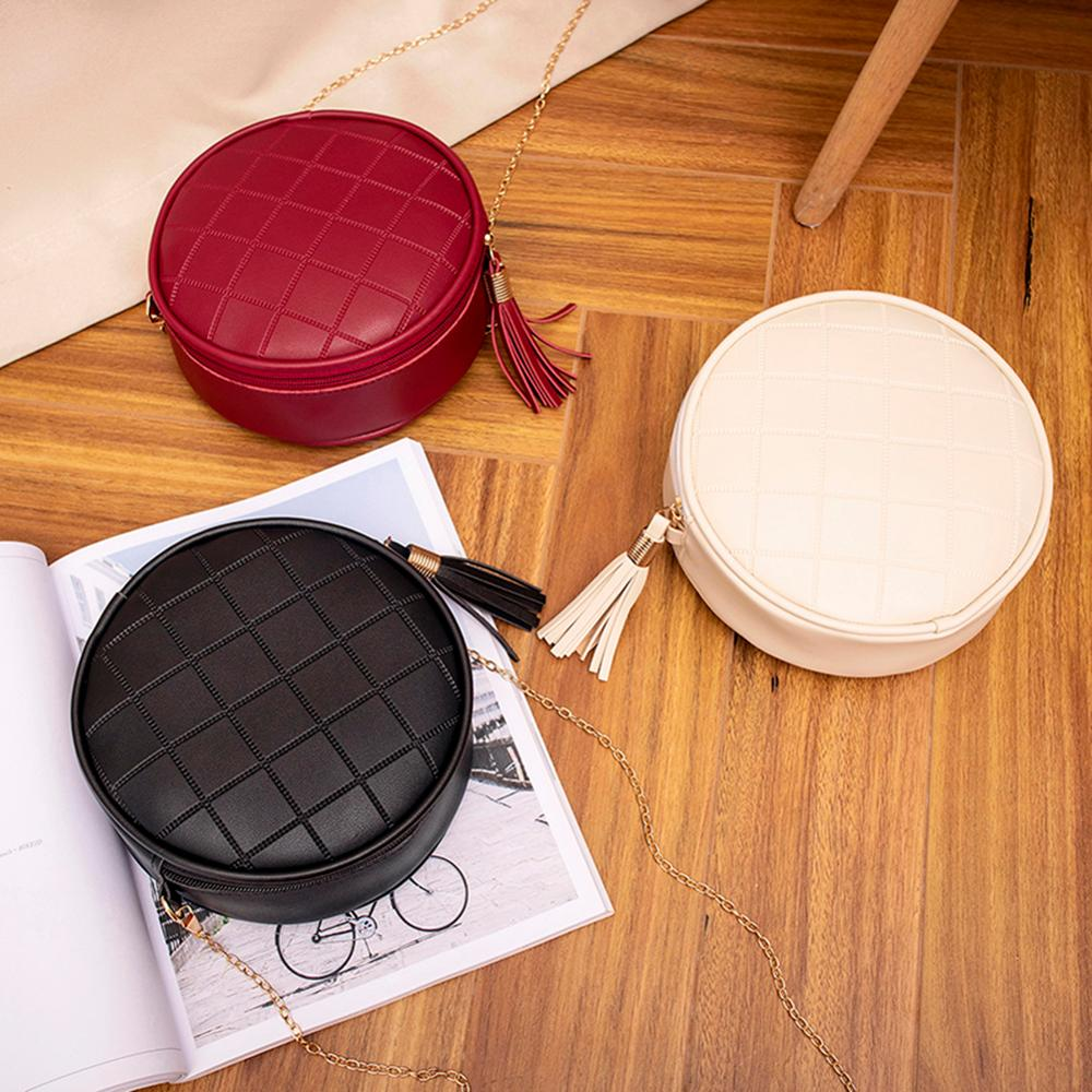 Women Mini Round Bags Solid Color Plaid Shoulder Handbags Women Small Round Tassel Crossbody Bags Purses Clutches