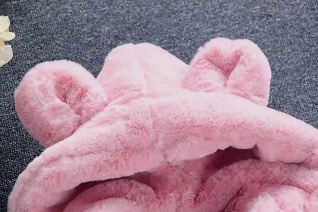 ฤดูหนาวเสื้อสำหรับสาวเสื้อหมี Hooded WARM Faux FUR ขนแกะเสื้อสำหรับเสื้อผ้าเด็กสีชมพูสีแดงเสื้อชุดเด็ก snowsuit