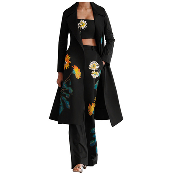 2020 New Fashion Women's Autumn Winter Floral Print Windbreaker+Chest Wrap+Pants Suit S-XL Long Coat Slim Pants Three Piece Sets