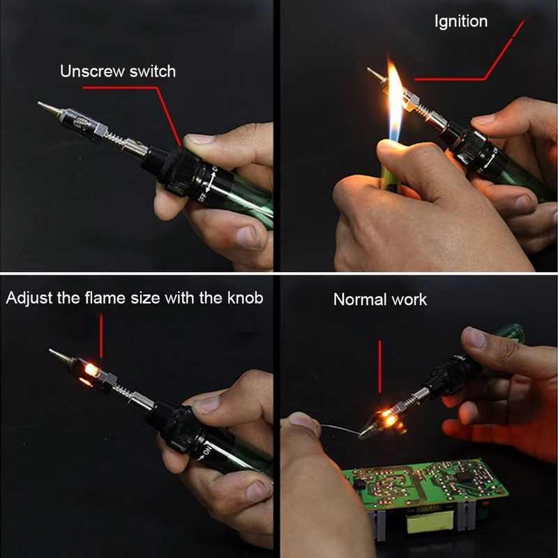 MT-100 Las Pena Burner Blow Torch 1300 Derajat Gas Solder Solder Besi Cordless Butane Tip Alat 19x8x3cm