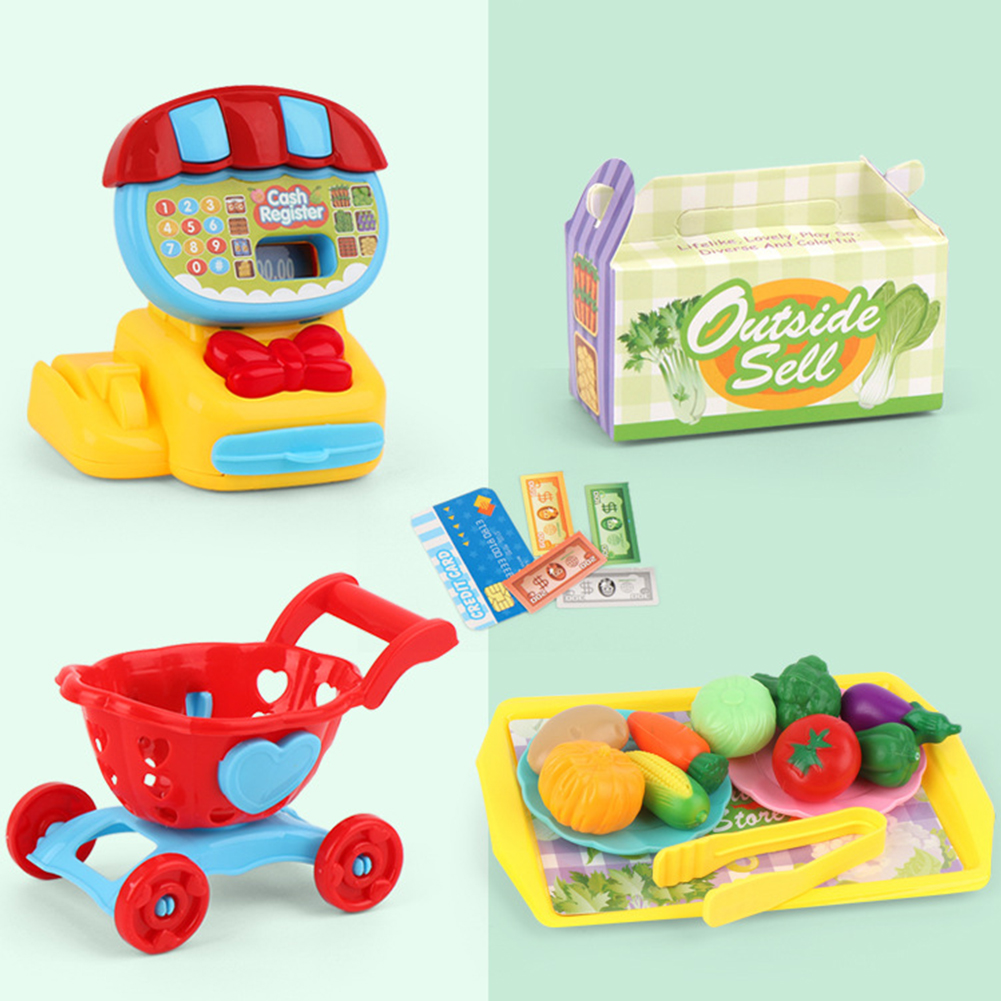 Image 2 - Simulation Cash Register Teaching Educational Mini Supermarket Kids Pretend ABS Toy Set Home Learning Play House ChildrenGroceries Toys   -