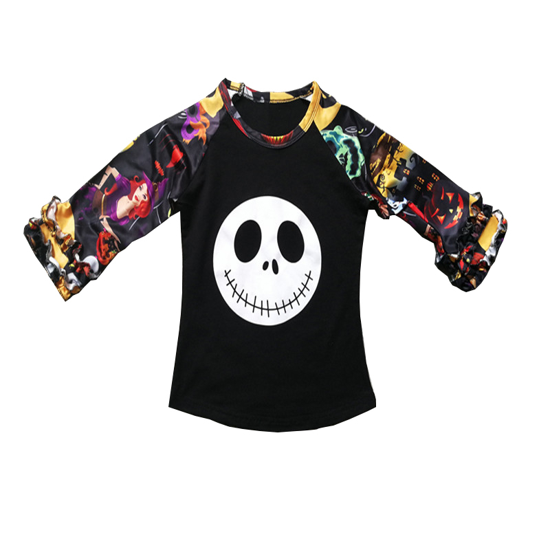 T-Shirts Blouse Tops Pullover Raglans Long-Sleeve Funny Halloween Girls Baby-Boy Child
