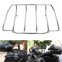 Chrome Tour Pak Pack Luggage Top Rack Trunk for Harley Touring Road Street