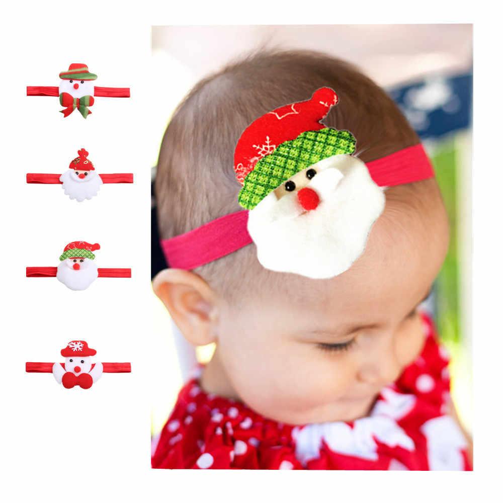 Детские Мультяшные волосы аксессуары Мода с милым снеговиком олень эластичная лента для волос для детей милый Рождественский Декор повязка на голову