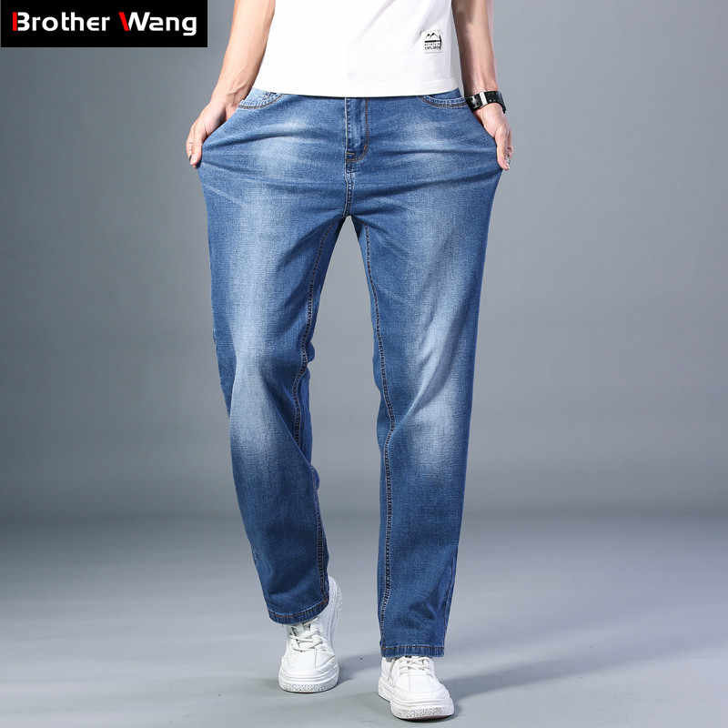 7 Colors Available Men's Thin Straight-leg Loose Jeans 2020 Summer New Classic Style Advanced Stretch Loose Pants Male Brand