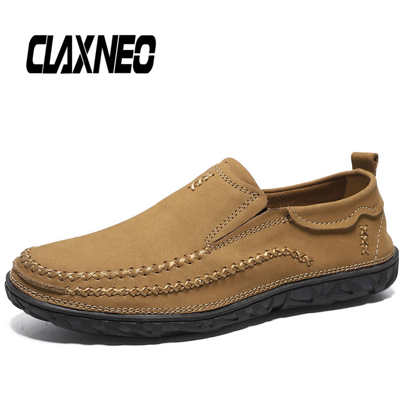 CLAXNEO Man Leather Shoes Slipons Autumn Male Genuine Casual Loafers Mens Walking Footwear Breathable