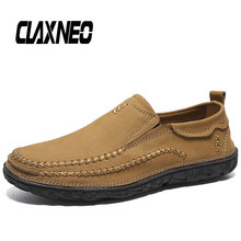 CLAXNEO Man Leather Shoes Slipons Autumn Male Shoes Genuine Leather Casual Loafers Men's Walking Footwear Breathable spring autumn 2018 breathable thick platform man shoes genuine leather mens footwear white casual male shoes plus size us 6 9 5