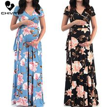 Chivry Maternity Dress Women Floral Print Short Sleeve V-neck Maxi Long Dress Pregnant Casual Clothes Summer Maternity Dress women floral print bohemian maxi dress gypsy wrap maxi dress vintage puff sleeve blossom boho maxi dress spell dress