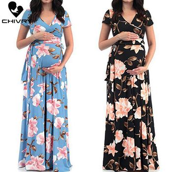 Chivry Maternity Dress Women Floral Print Short Sleeve V-neck Maxi Long Dress Pregnant Casual Clothes Summer Maternity Dress belva summer 2017 maternity dress v neck red wine ultra soft bamboo fabric dress straight for pregnant women dt002