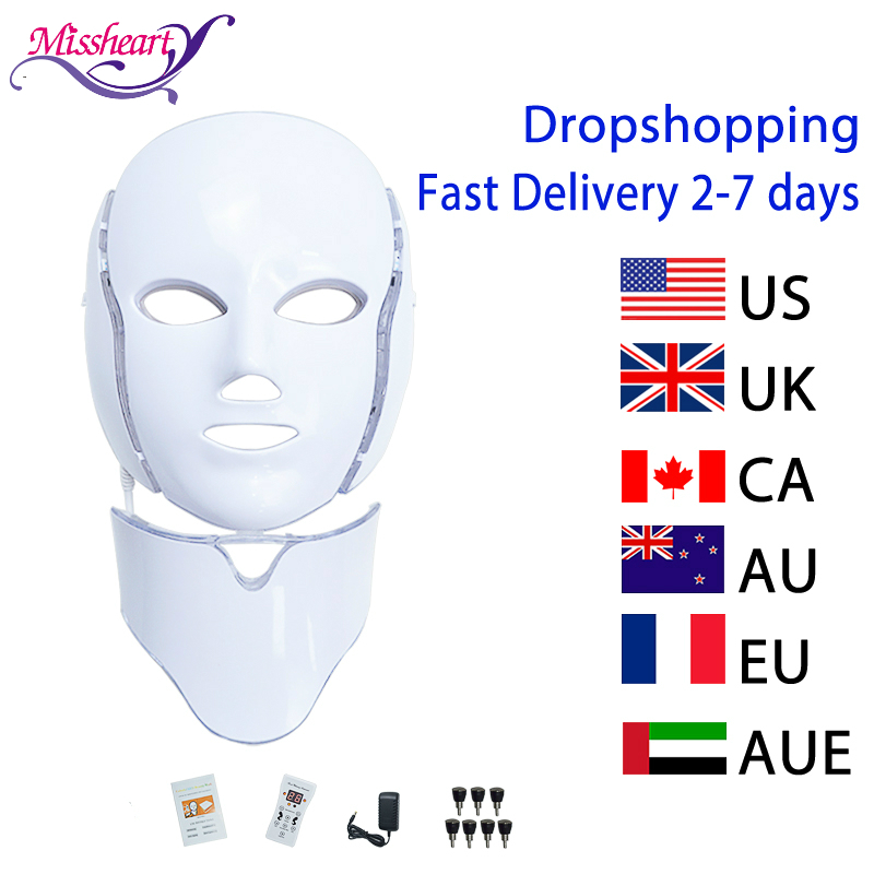 7 Colors Electric Led Facial Mask with Neck Machine Beauty Photon Therapy Anti Acne Tighten Whitening Instrument(China)