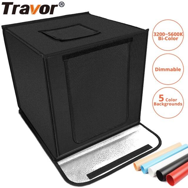 Travor F40A 디 밍이 가능한 접는 사진 상자 40*40 cm LED 라이트 박스 사진 스튜디오 탁상 촬영 사진 상자 5 색 배경