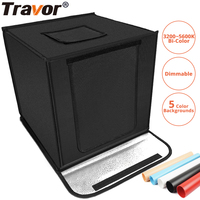 Travor F40A Dimmable Folding Photo Box 40*40 cm LED Light box Photo Studio tabletop Shooting photo box with 5 colors background