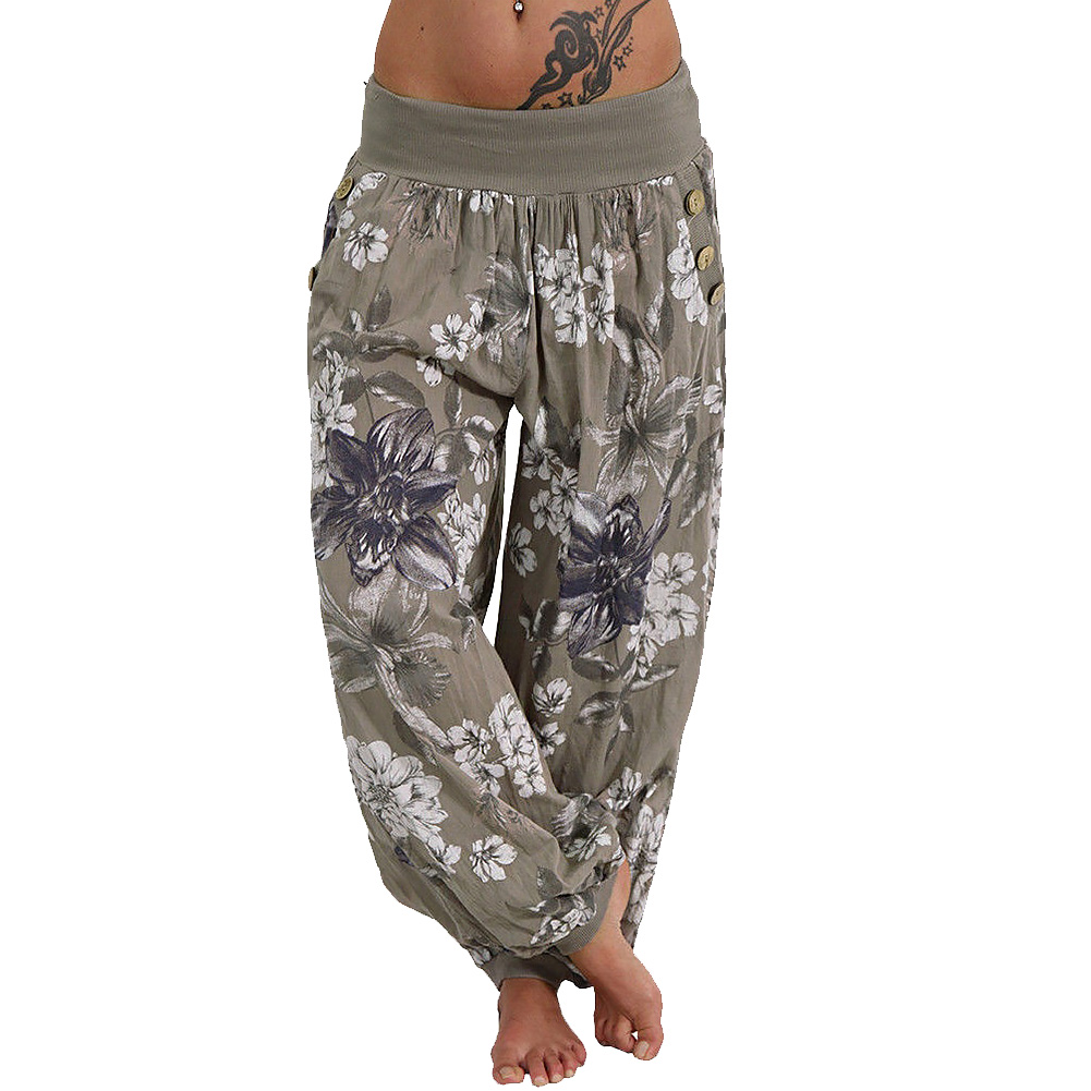 Women   Wide     Leg     Pants   Flower Printing Fabala Loose Long   Pants   Summer Harem Sport   Pants   Casual