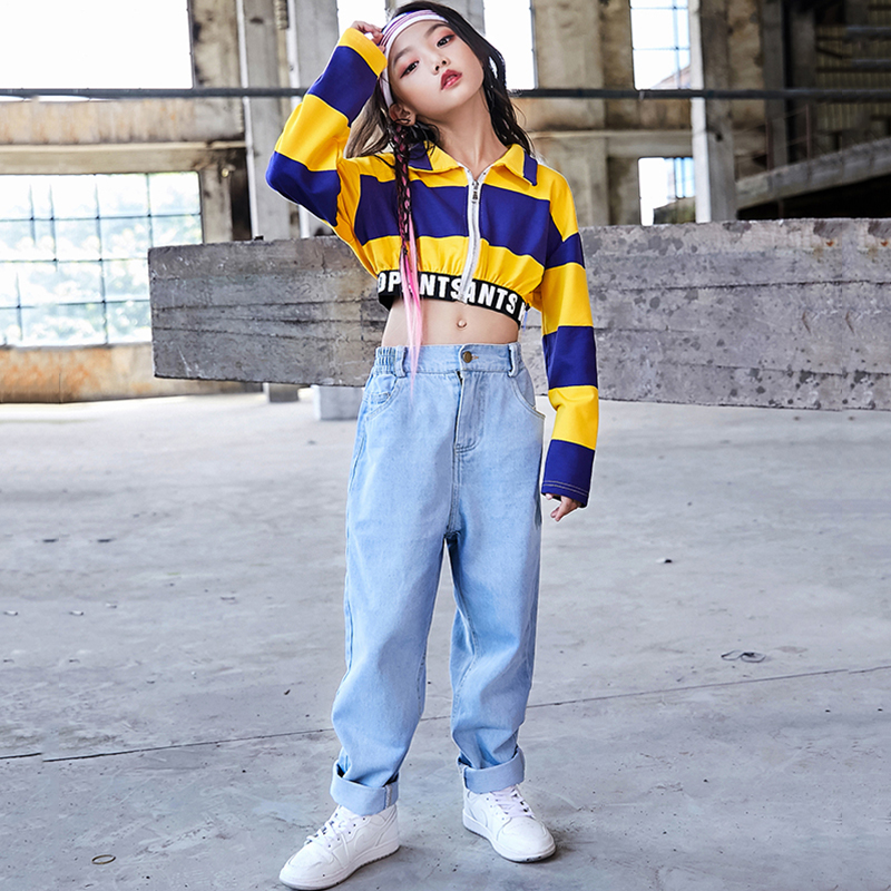 Hip Hop Costumes Kids Fashion Striped Shirt Street Dance Clothing Children Stage Performance Outfit Girls Jazz Dance Wear DN4041
