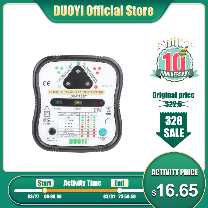 DUOYI DY207A Electric Socket Tester Automatic Wall Plug Breaker Finder Polarity RCD Test Phase Check Loop Test Detector UK/US