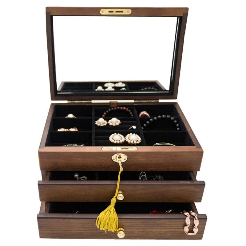 Chaude en bois Extra grande boîte à bijoux serrure Armoire miroir mallette de rangement bibelot Armoire cercueil colliers boucles d'oreilles crochet