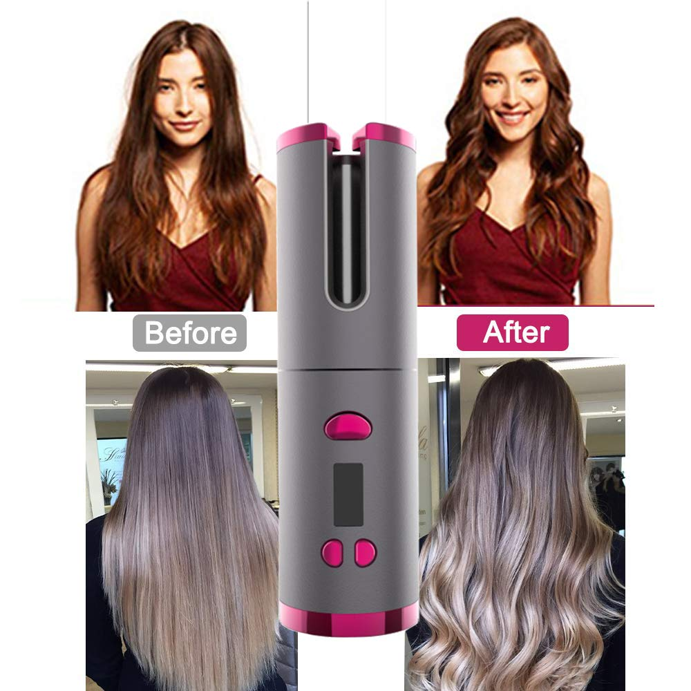 Automatic Curling Iron Rotating Air Curler Wireless Hair Styling Curling Wand USB Rechargeable Professional Cordless Hair Curler image
