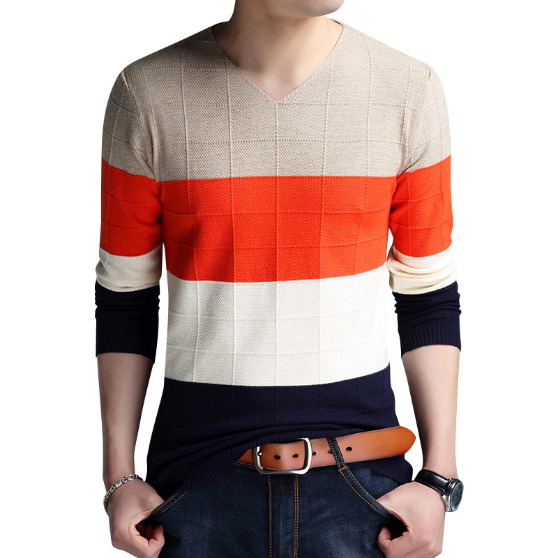 MEN Sweater Autumn Spring Pullovers best quality Nice Striped Plus size 3XL Men Sweaters Coat Cotton Pullover