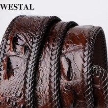 WESTAL crocodile genuine leather men belt luxury me