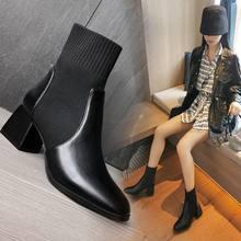 Осень 2020 толстые однотонные высокие ботинки с квадратным носком