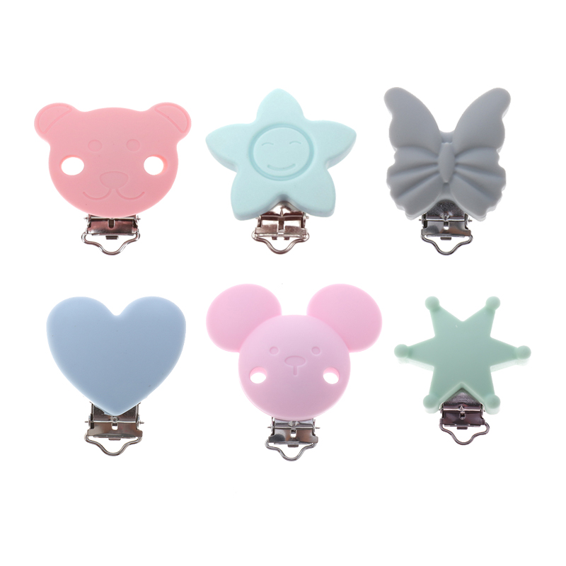 ATOB 1pc Baby Pacifier Clip Silicone Soother Teether Nipple Holder Baby Teether Accessories Wooden Clip Toy Towel Clips