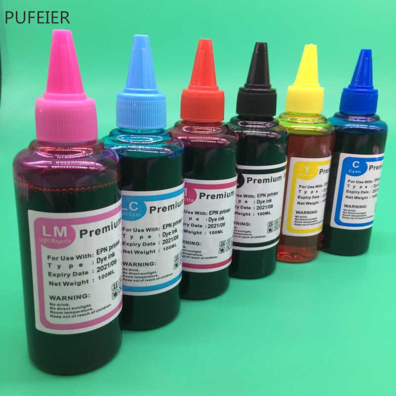 6 Pcs X 100 Ml T0481-T0486 Pewarna Berbasis Tinta untuk Epson R200 R220 R300 R300M R320 R340 RX500 RX600 RX620 inkjet Printer