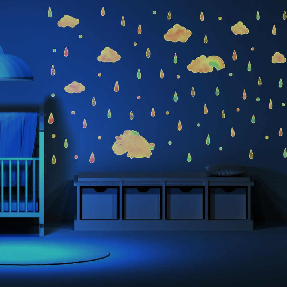 20pcs/set Luminous Cloud Rain In The Dark Wall Stickers Fluorescent Wall  Stickers For Kids Baby Room Bedroom Ceiling Home