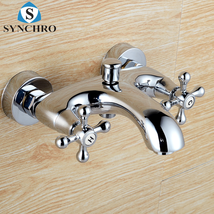 Manufacturers Direct Selling Double Handwheel Plum Handwheel Bathtubs And Shower Faucets Mixed Cold Brass Body