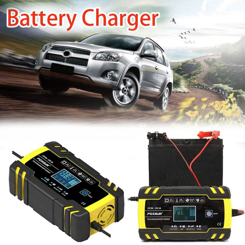 12V 8A 24V 4A Pulse Repair Charger with Lcd Display  Contact Control Car Charger Pulse Repair Automobile Battery Charger with LC|  - title=