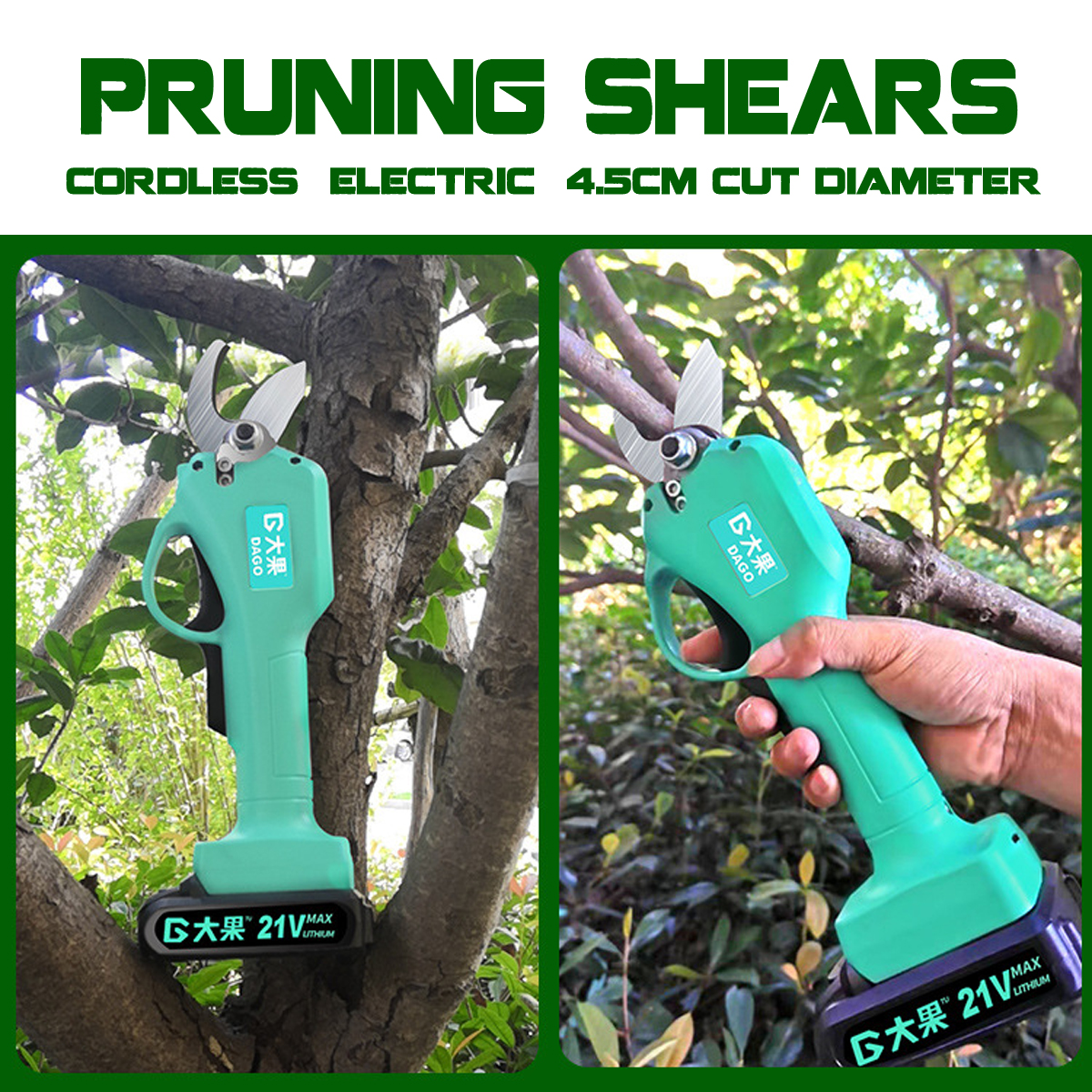 21V Wireless Electric Rechargeable Scissors Pruning Shears Tree Garden Tool Branches Pruning Tools W/1 Or 2 Li-ion Battery New