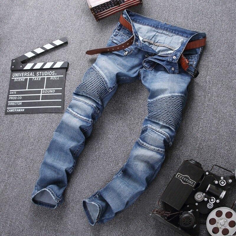 Europe And America Fashion Man High Street Biker JEANS Locomotive Pleated Pocket Zipper Elasticity Slim Fit Pants Jeans