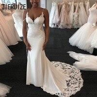 JIERUIZE Sexy White Mermaid Wedding Dresses African Spaghetti Neck Criss Cross Back Lace Appliques Bridal Gowns vestido de noiva