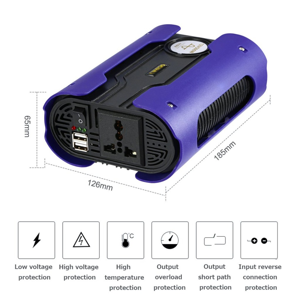 Blue 500W Peak <font><b>1000W</b></font> Pure Sine Wave Power <font><b>Inverter</b></font> Car Power Converter with 2 USB Port DC <font><b>12V</b></font> For Home Appliance image