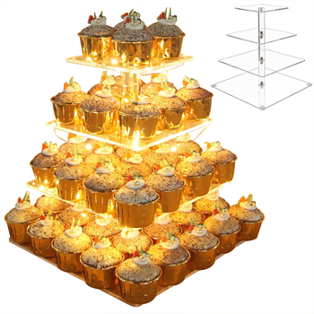 4 Tier Environmentally Friendly Acrylic LED Light Cake Display Stand With LED String Light For Wedding Birthday Baby Shower