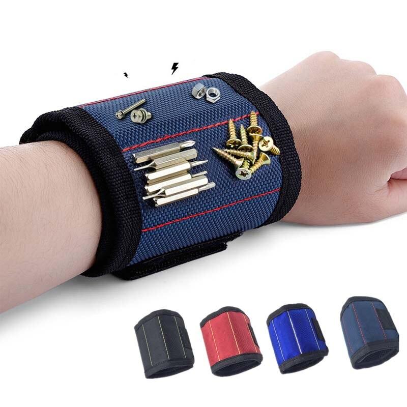 Магнитный браслет, Портативная сумка для инструментов с 3 магнитами, электрик, инструмент для запястья, ремень, винты, гвозди, сверла, брасле...